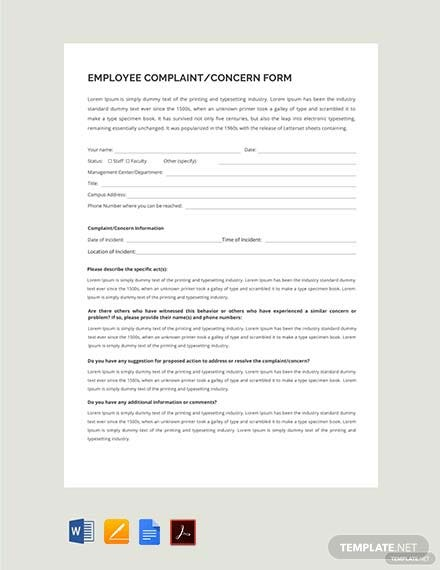 Free HR Employee Concern Form