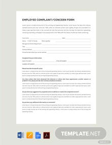 HR Employee Concern Form Template