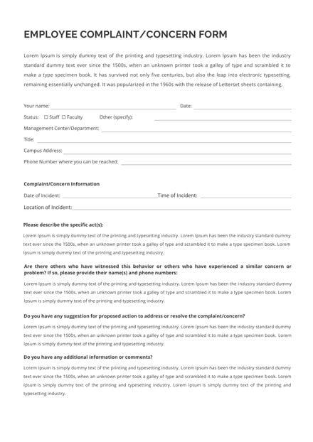 HR Employee Concern Form