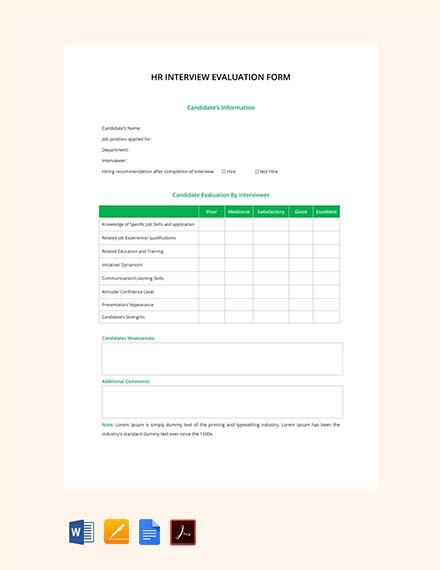 Free HR Interview Evaluation Form