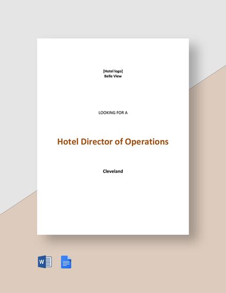 Hotel Director of Operations Job Description