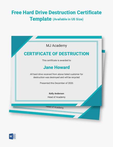 Free Hard Drive Destruction Certificate Template