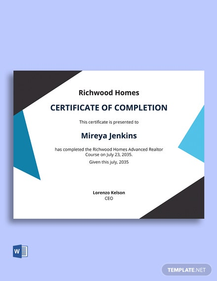 Free Real Estate Course Certificate Template