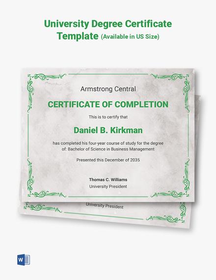 University Degree Certificate Template