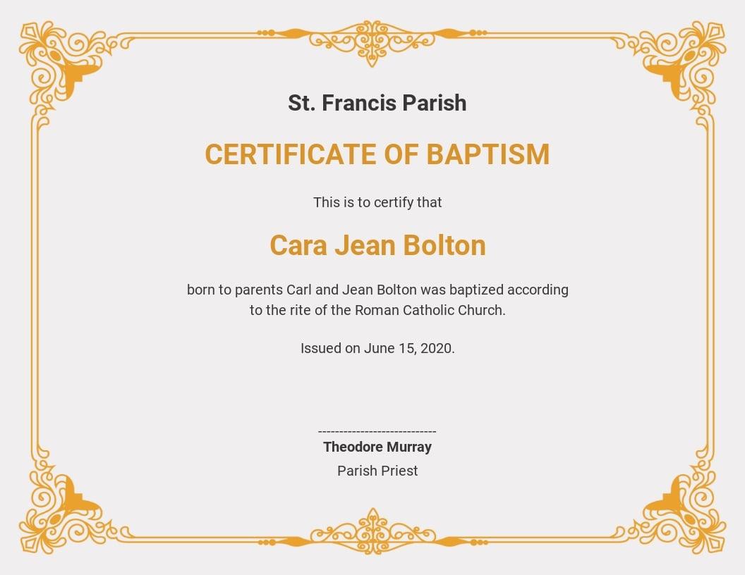 Customizable Baptism Certificate Template