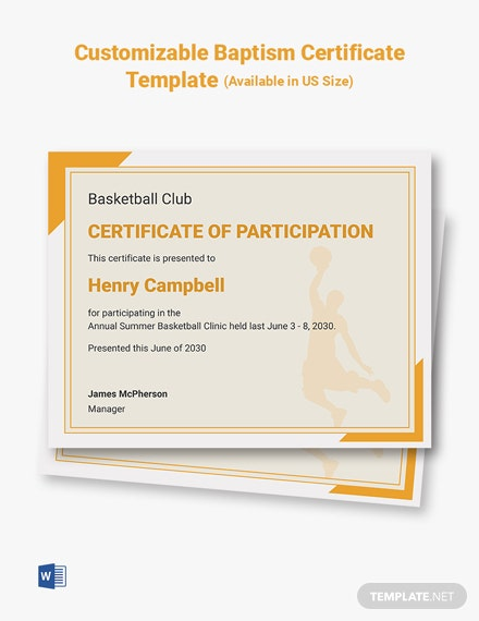 Customizable Basketball Certificates Template