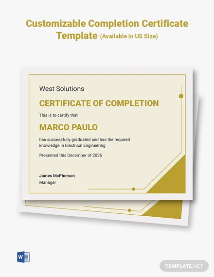 Customizable Completion Certificate Template