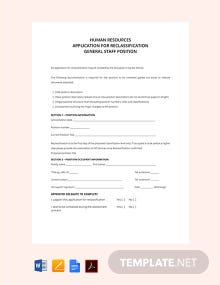 Free HR Application Form for Reclassification