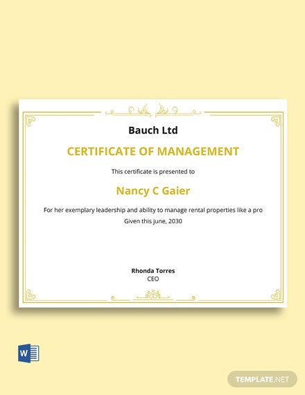 Certificate In Property Management Template