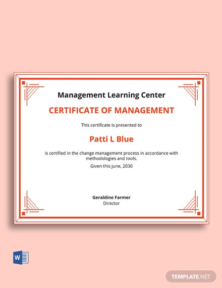 Free Change Management Certificate Template