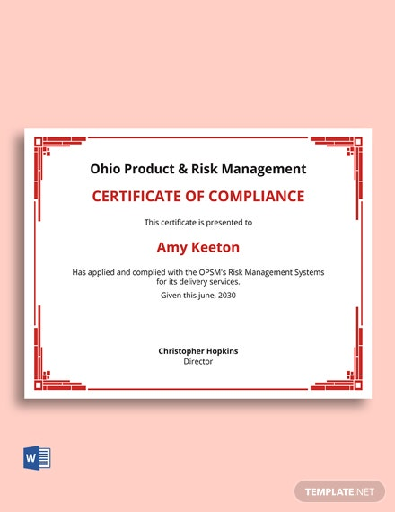 Free Risk Management Certificate Template