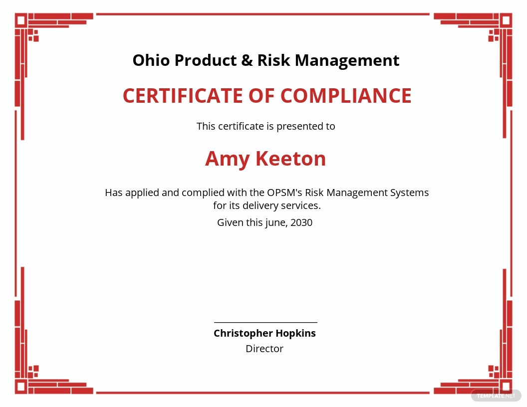 Risk Management Certificate Template