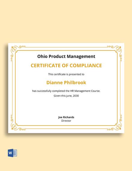 Human Resource Management Certificate Template