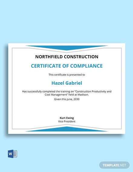 Construction Management Certificate Template