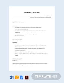 Free Privacy Act Cover Sheet