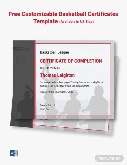 Free Customizable Basketball Certificates Template