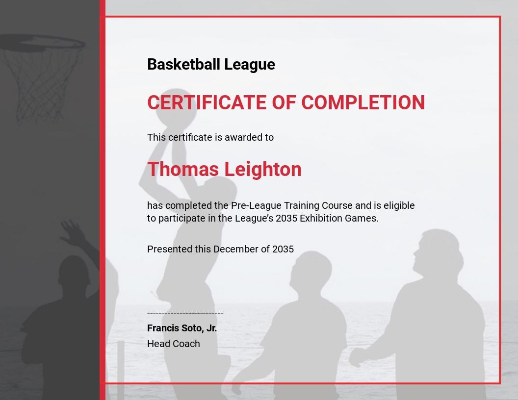 Free Customizable Basketball Certificates Template
