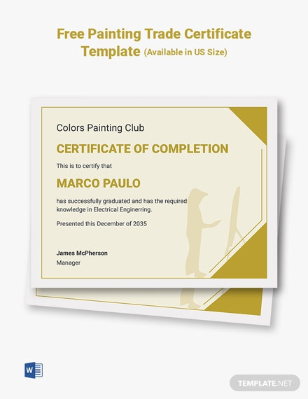 Free Painting Trade Certificate Template