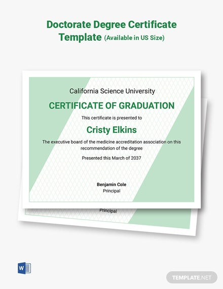 Honorary Doctorate Certificate Template