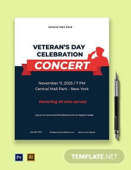 Veterans Day Celebration Concert Flyer Template