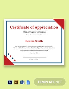 Veterans Day Appreciation Certificate Template