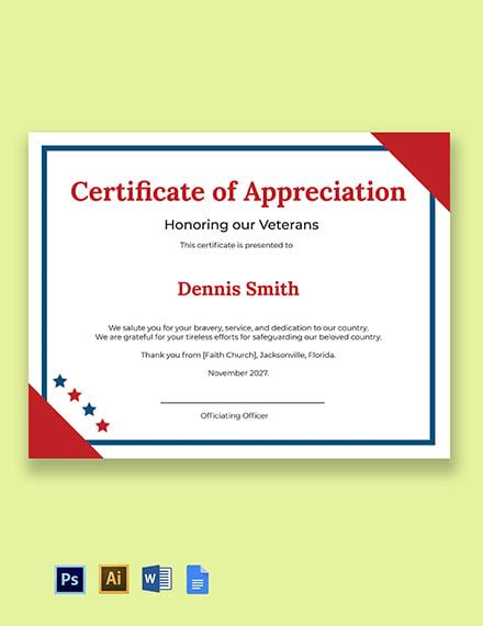 Veterans Day Appreciation Certificate Template