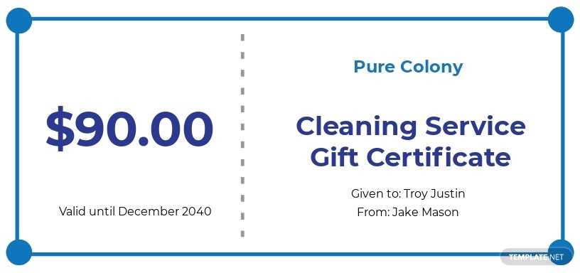 Cleaning Service Gift Certificate Template