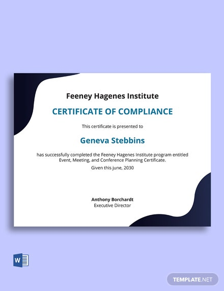 Event Management Certificate Template