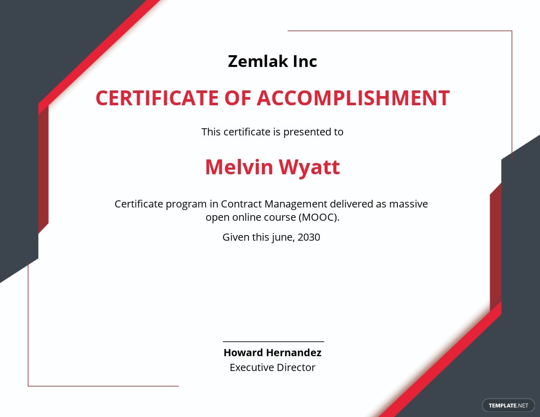 Contract Management Certificate Template