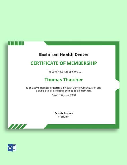Medical Membership Certificate Template