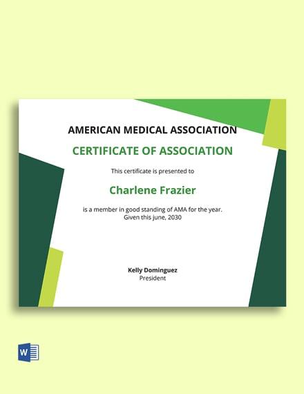 Association Membership Certificate Template