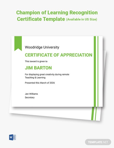 Champion of Learning Recognition Certificate Template