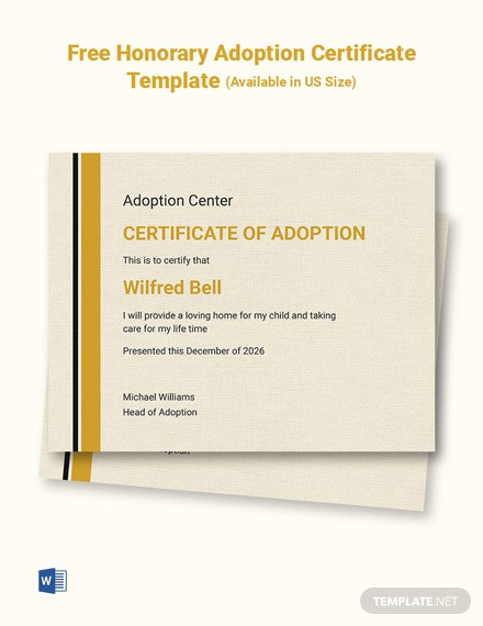Free Honorary Adoption Certificate Template