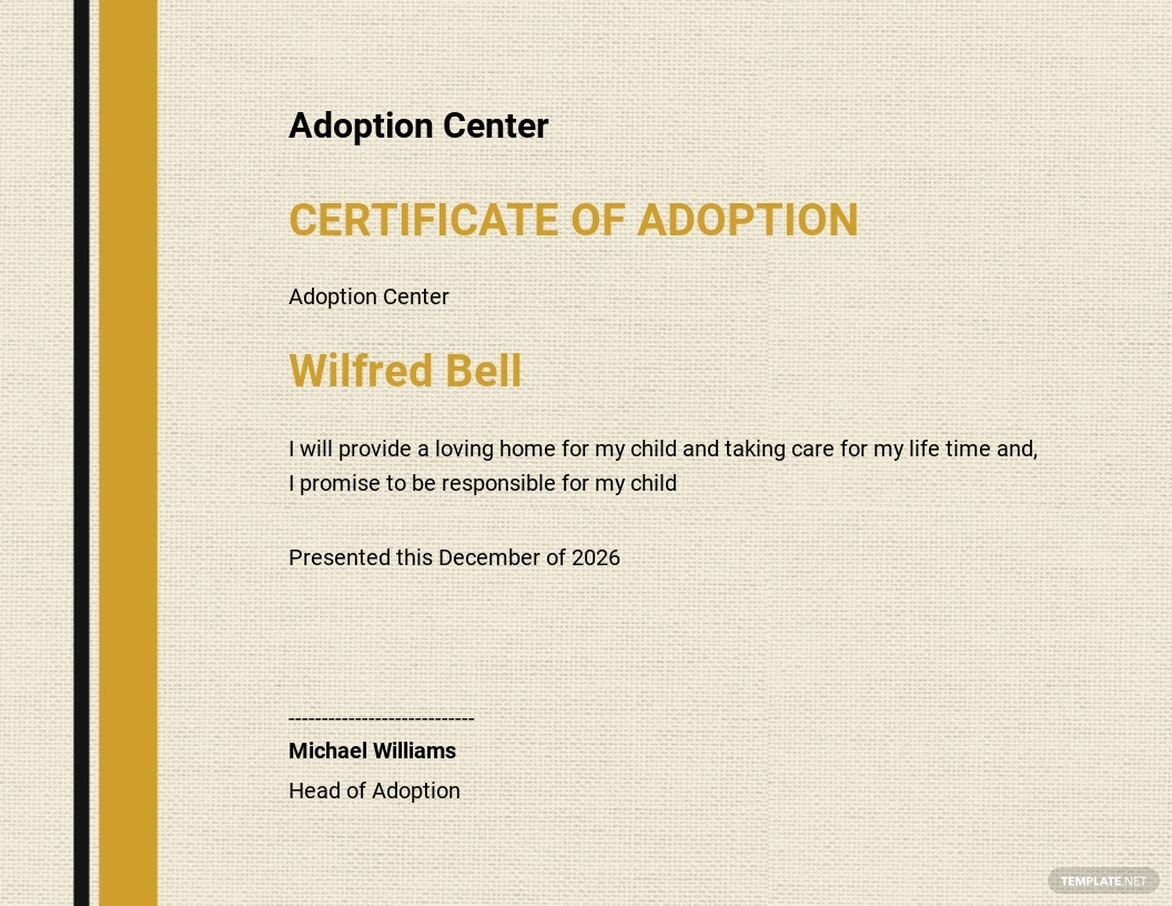 Honorary Adoption Certificate Template