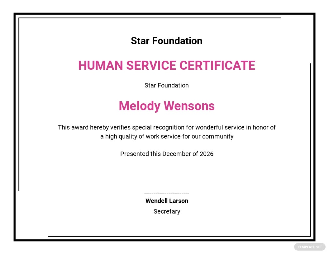 human services certificate Template