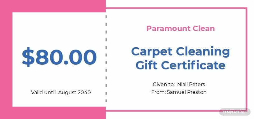 Carpet Cleaning Gift Certificate Template