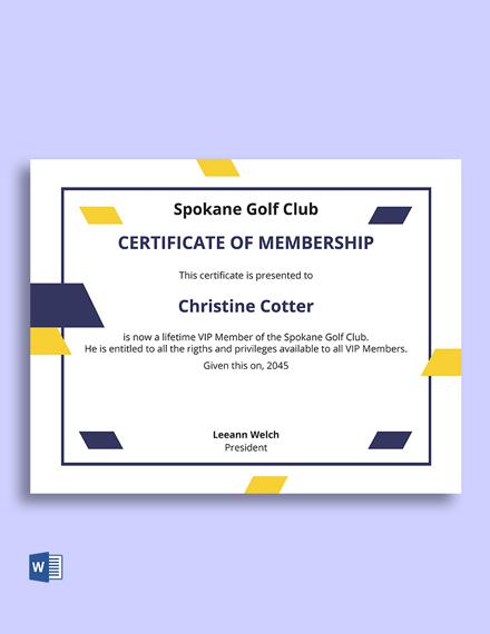 Sports Membership Certificate Template