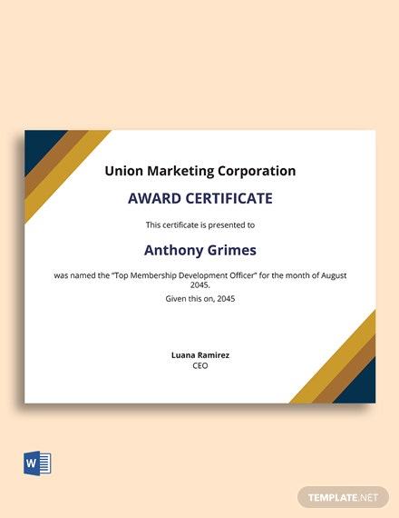 Membership Development Award Certificate Template