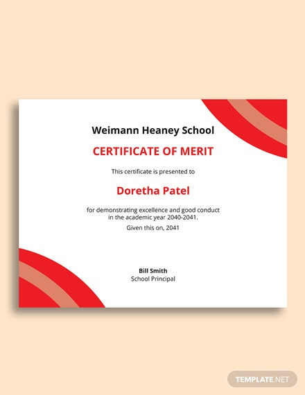Free Merit Certificate For Students Template