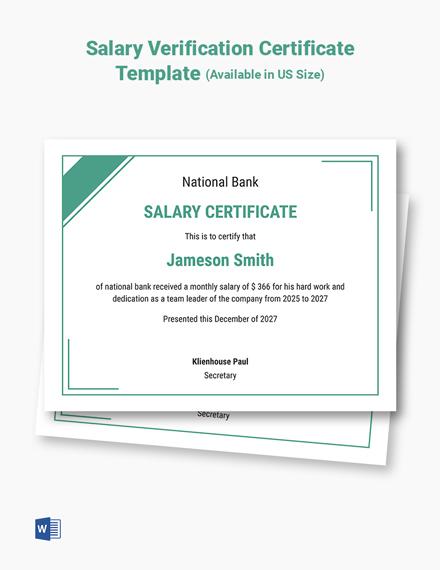 Salary Verification Certificate Template
