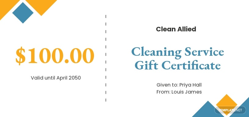 Simple Cleaning Service Gift Certificate Template