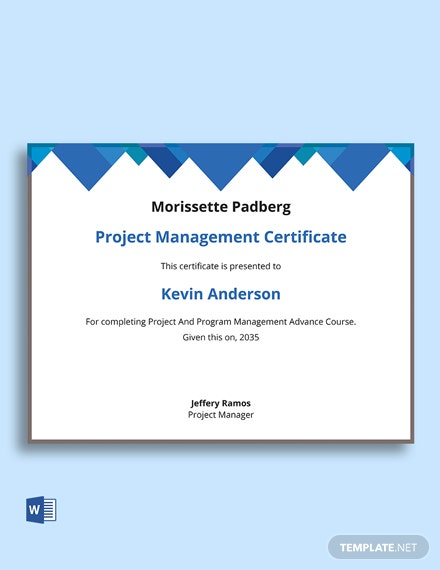 Free Project And Program Management Certificate Template