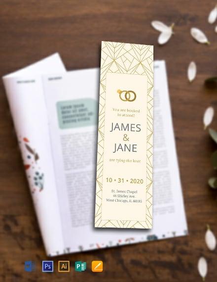 Free Wedding Bookmark Template