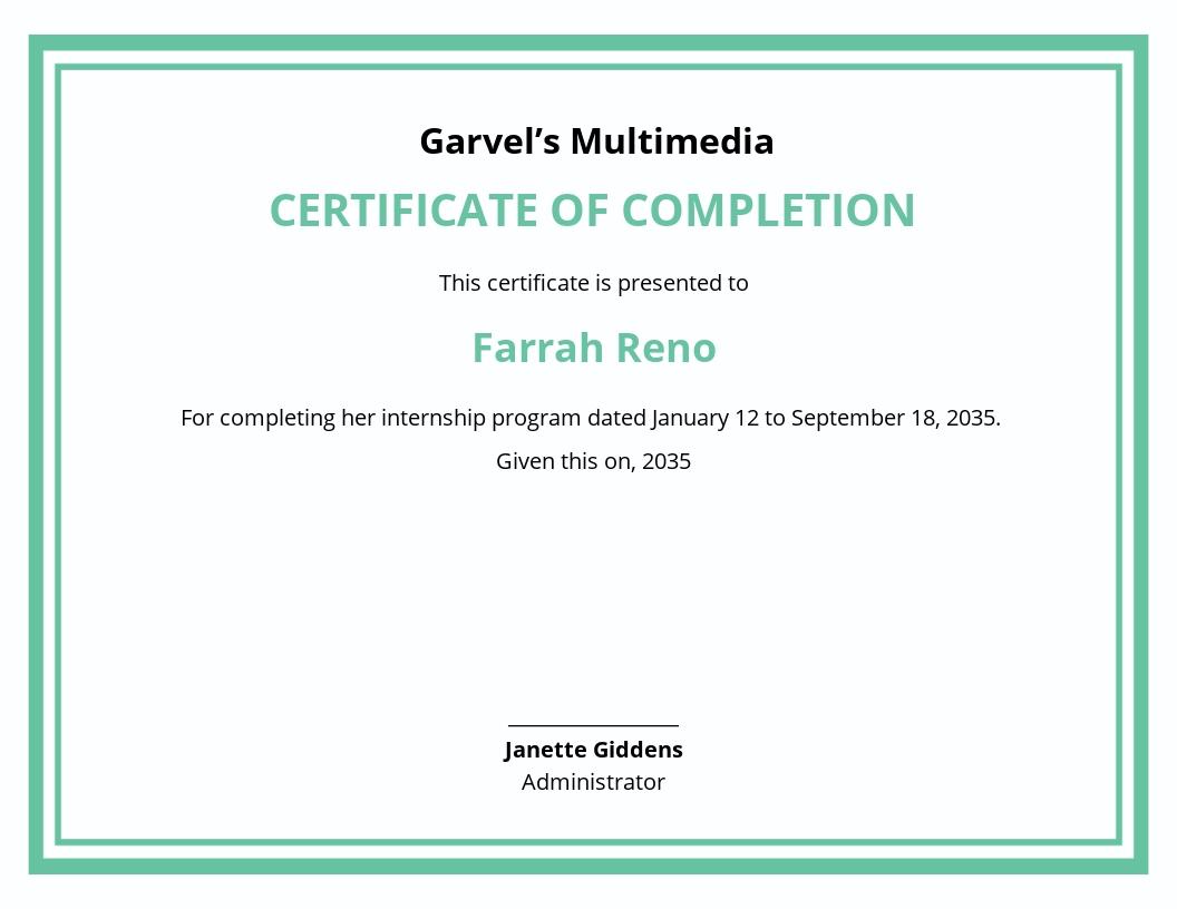Internship Certificate Letter Template