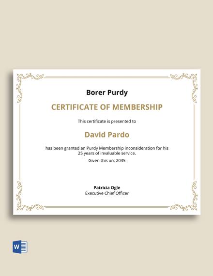 Membership Interest Certificate Template