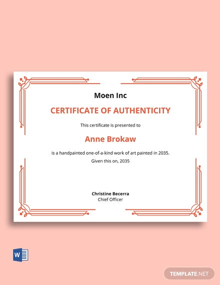 Blank Certificate Of Authenticity Template