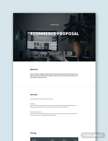 Free Ecommerce Proposal Sample Template