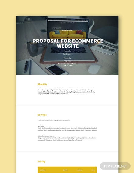 Free Sample Proposal for Ecommerce Website Template