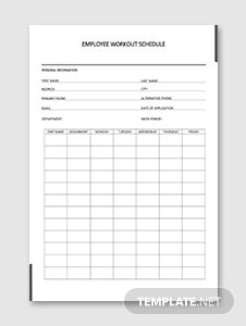 Employee Workout Schedule