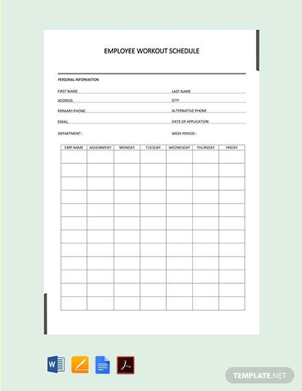 Employee Workout Schedule Template